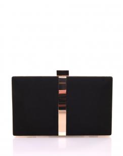 Pochette rigide en suédine noire et détails dorés