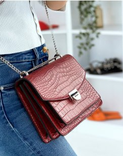 Red croc-effect bag with silver chain shoulder strap