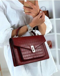 Red croc-effect handbag