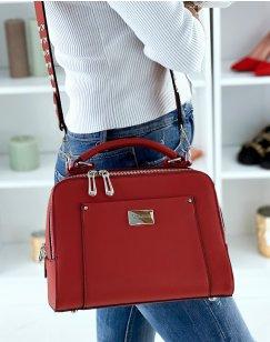 Red Double Pocket Satchel Style Handbag