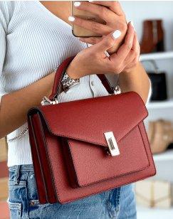Red satchel style handbag