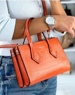 Sac à main mini orange effet croco
