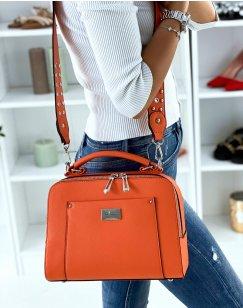 Sac à main orange style cartable à double poche
