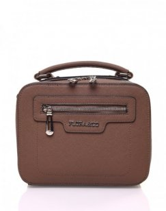 Sac bandoulière carré rigide type mallette marron