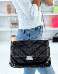 Sac bandoulière jean noir matelassé grand format