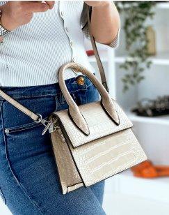 Small beige croc-effect trapeze handbag