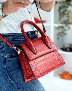 Small red croc-effect trapeze handbag