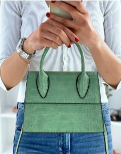 Small water green trapeze handbag with croc effect