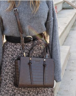 Taupe croc-effect handbag
