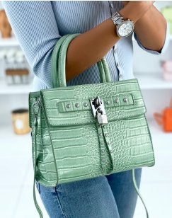 Water green croc-effect bag with multiple pockets