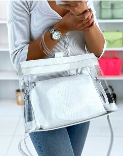 White and transparent croc-effect tote bag