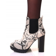 Chelsea boots effet serpent à talons et détails perles