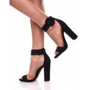 Sandale noire effet suédine talons épais