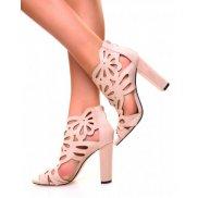 Sandales à talons ajourées en suédine beiges