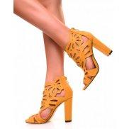 Sandales à talons ajourées en suédine jaunes