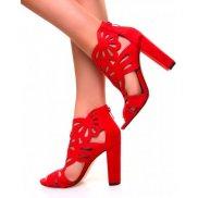 Sandales à talons ajourées en suédine rouges