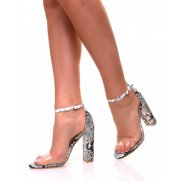 Sandales à talons carrés effet python et lanières transparentes