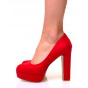 Sandales en suédine à plateforme rouge