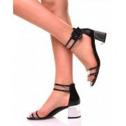 Sandales noires effet croco et transparente à petits talons carrés