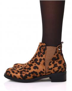 Bottines léopard avec élastique bicolore à l'arrière