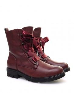 Chaussures montantes bordeaux lacets en satin
