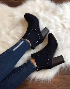Chelsea boots bleus ornés de clous et à talons