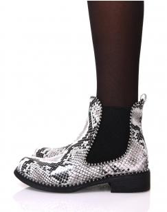 Chelsea boots effet peau de serpent