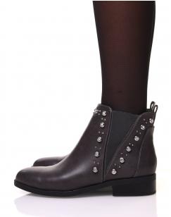 Chelsea boots grises ornées de strass