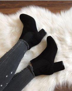 Chelsea boots noirs entièrement suédines talons mi hauts