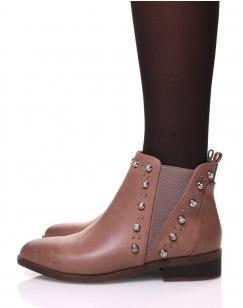 Chelsea boots roses ornées de strass