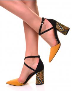 Escarpins à talons carrés tissés en suédine jaune