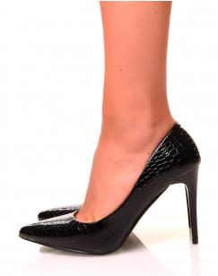 Escarpins croco noirs à talons aiguilles