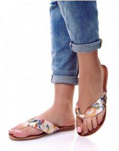 Nu-pieds à grosse lanière à fleurs