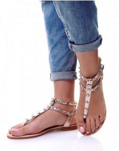 Nu-pieds champagne à perles