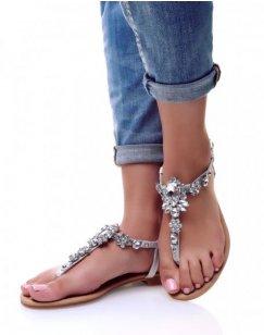 Nu-pieds gris avec Bijoux centrale