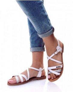 Nu-pieds multi-lanières croisés blancs