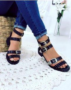 Nu-pieds noirs à boucles ornées