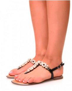 Nu-pieds noirs ajourés à perles et strass