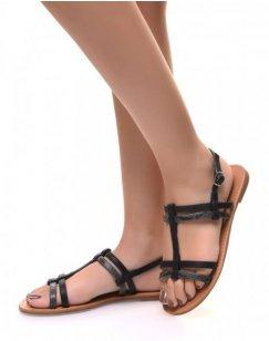 Nu-pieds noirs multi-lanières écaillées