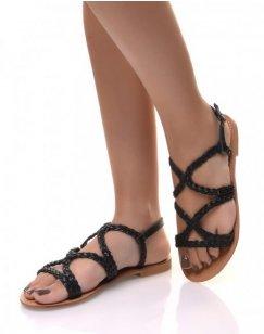 Nu-pieds noirs tressés