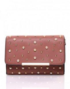 Petit sac en bandoulière orné de perle vieux rose