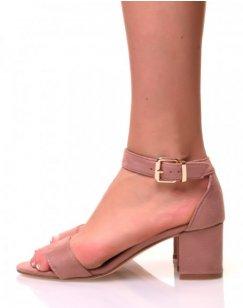 Sandales à petits talons en suédine roses