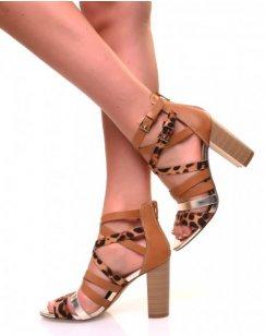 Sandales à talons à multiples lanières effet léopard