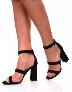 Sandales à talons à multiples lanières noires