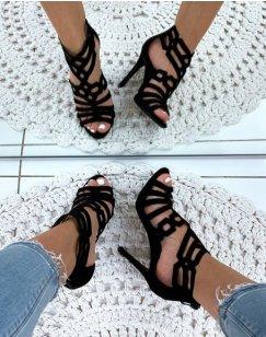 Sandales à talons aiguilles en suédine noires