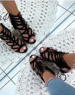 Sandales à talons carrés en suédine noires