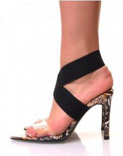 Sandales à talons effet python jaune sangles transparentes et bandes élastiques