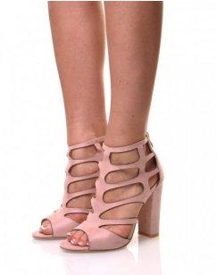 Sandales à talons en suédine roses