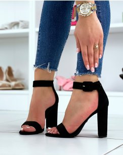Sandales à talons noires en  total suédine