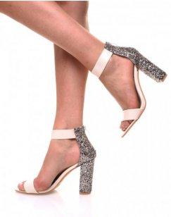 Sandales à talons pailletés beiges